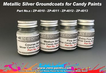 ZEROPAINTS ZP-4012 Medium Metallic SILVER Groundcoat for Candy Paints 60ml