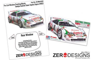 ZEROPAINTS ZD-WM-0026 Castrol Toyota Tom's Supra GT Window Painting Masks (Tamiya 1:24)