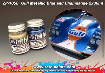 ZEROPAINTS ZP-1058 Gulf Metallic Blue and Champagne Paint Set 2x30ml