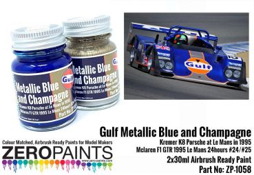 ZEROPAINTS ZP-1058 Metallic Blue and Champagne (ähnlich Gulf) Paint Set 2x30ml