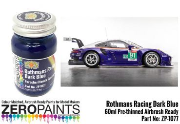ZEROPAINTS ZP-1077 Rothmans Racing Dark Blue Porsche 991 RSR Le Mans 2018, Farbe 60ml