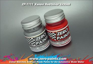 ZEROPAINTS ZP-1111 Xanavi/Motul Nismo (R34 & 350Z) Red/Silver Paint Set 2x30ml