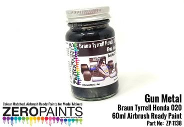 ZEROPAINTS ZP-1138 Gun Metal Paint for Braun Tyrrell Honda 020, 60ml