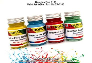 ZEROPAINTS ZP-1300 Racing Colour Paint Set ähnlich Benetton Ford B188 4x30ml