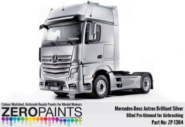 ZEROPAINTS ZP-1384 Mercedes-Benz Actros Brilliant Silver Paint 60ml