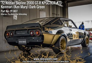 ZEROPAINTS ZP-1407 Dark Green Paint ähnlich Nissan Skyline 2000 GT-R - #73 KPGC110, 60ml