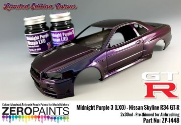 ZEROPAINTS ZP-1448 Midnight Purple 3 - LX0 Nissan GT-R R34 2x30ml (Limited Edition Colour)