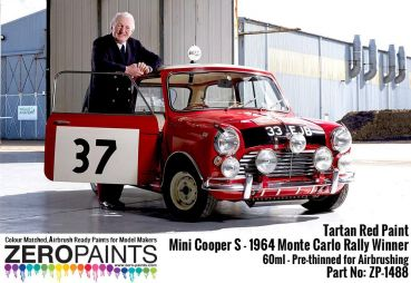 ZEROPAINTS ZP-1488 Mini Cooper S - 1964 Monte Carlo Rally Winner Tartan Red Paint 60ml