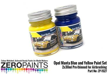 ZEROPAINTS ZP-1527 Opel Manta Yellow and Blue (Gelb und Blau) Paint Set 2x30ml