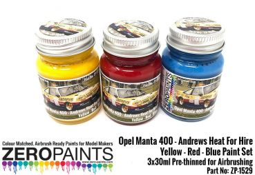ZEROPAINTS ZP-1529 Opel Manta 400 Group B - Andrews Heat for Hire - Yellow, Red and Blue (Gelb, Rot und Blau) Paint Set 3x30ml