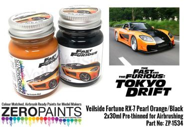 ZEROPAINTS ZP-1534 Veilside Fortune RX-7 Pearl Orange/Black Paint Set 2x30ml