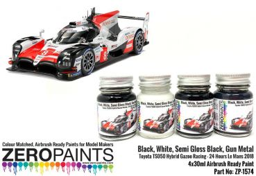 ZEROPAINTS ZP-1574 Racing Colour Paint Set ähnlich Toyota TS050 Hybrid Gazoo Racing 4x30ml