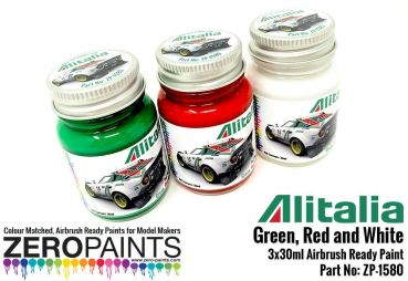 ZEROPAINTS ZP-1580 Alitalia (Lancia) Green, Red and White Paint Set 3x30ml