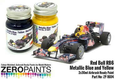 ZEROPAINTS ZP-1604 Red Bull RB6 Metallic Blue and Yellow Paint Set 2x30ml