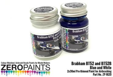 ZEROPAINTS ZP-1620 Brabham BT52 and BT52B Blue and White Paint Set 2x30ml