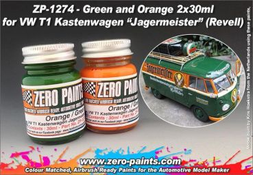 ZEROPAINTS ZP-1272 Grün and Orange Farbset 2x30ml z.B. für Revell 07076 VW T1 Kastenwagen/Jagermeister