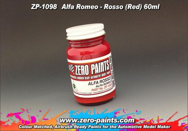 ZEROPAINTS ZP-1098 Alfa Romeo - Rosso (Red) Paint, 60ml
