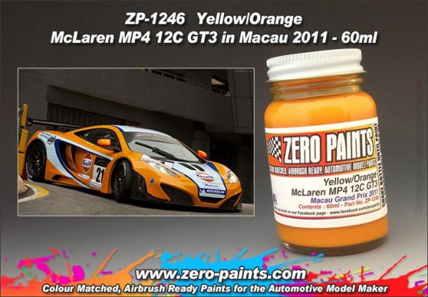 ZEROPAINTS ZP-1246 Yellow/Orange Paint McLaren MP4-12C GT3 in Macau 2011 (for Fujimi) 60ml