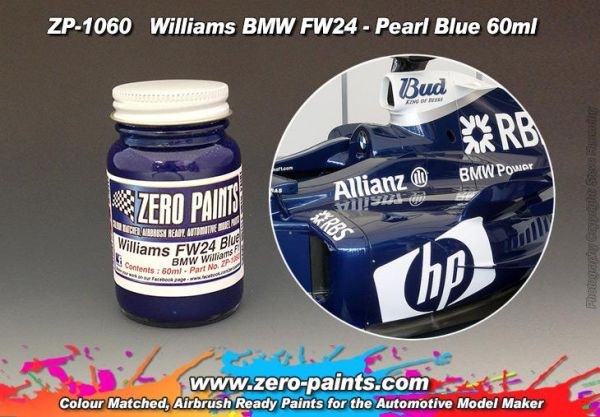 ZEROPAINTS ZP-1060 Williams F1 BMW FW24 Blue Paint 60ml