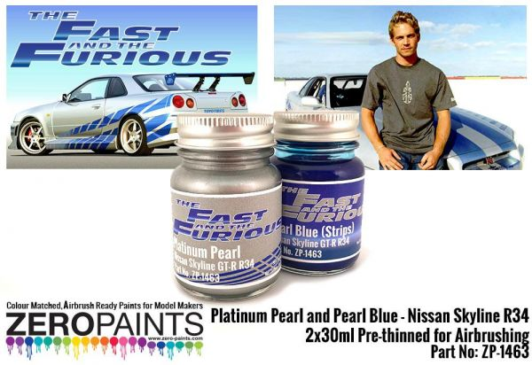 ZEROPAINTS ZP-1463 Fast and Furious Platinum Pearl/Pearl Blue Paints 2x30ml (Paul Walker Nissan Skyline R34)