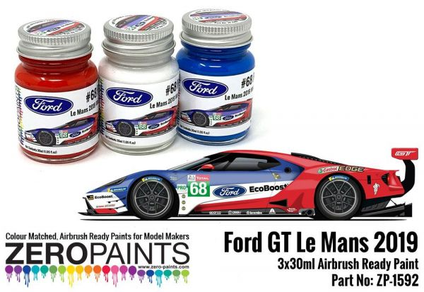 ZEROPAINTS ZP-1592 Ford GT Le Mans #68 Paint Set 3x30ml