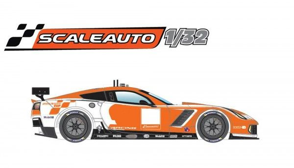 Scaleauto C7 GT Racing KIT orange/weiß m.Dekor u.R-Fahrwerk Anglewinder